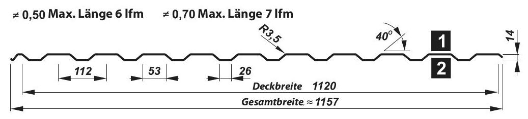 Trapezblech Dach 14-112 – T14 - Technische Zeichnung