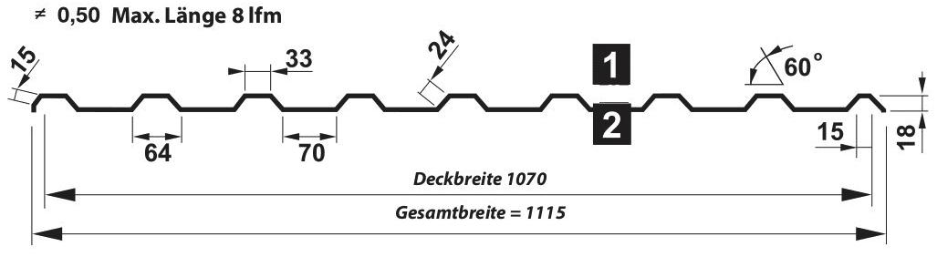 Trapezblech Dach 18-134 – T18M - Technische Zeichnung