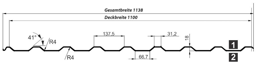 Trapezblech Dach 20-137 – T20M - Technische Zeichnung