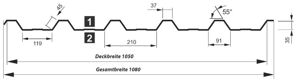 Trapezblech Dach 35-210 – T35DR - Technische Zeichnung