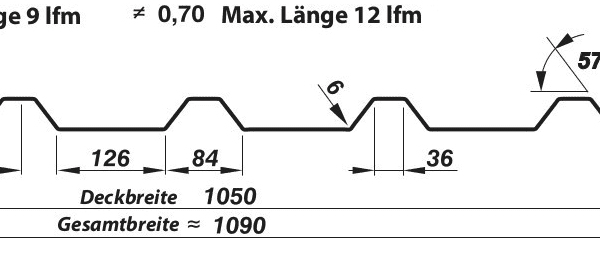 Trapezblech Dach 35-210 – T35E - Technische Zeichnung