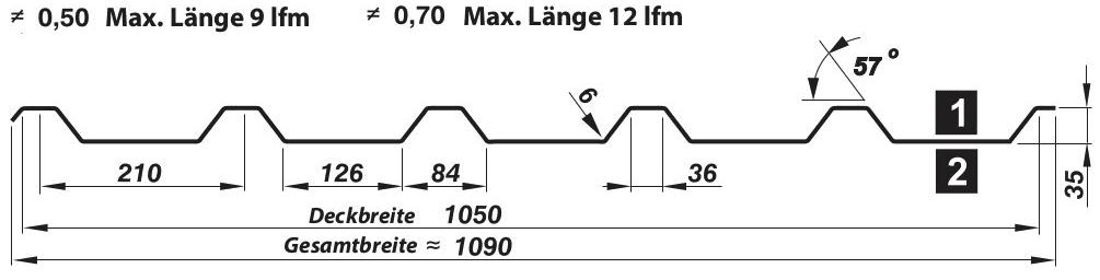 Trapezblech Dach 35-210 – T35M - Technische Zeichnung
