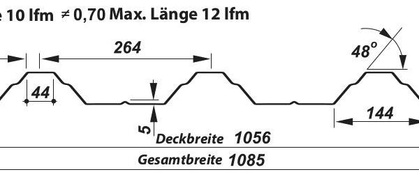 Trapezblech Dach 50-264 – T50P - Technische Zeichnung