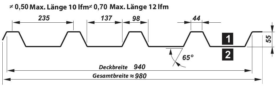 Trapezblech Dach 55-235 – T55P - Technische Zeichnung