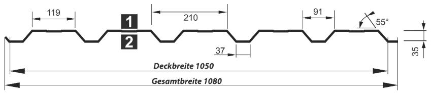 Trapezblech Wand 35-210 – T35DR - Technische Zeichnung