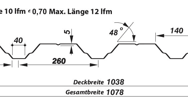 Trapezblech Wand 40-260 – T40 - Technische Zeichnung