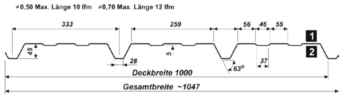 Trapezblech Wand 45-333 – T45 - Technische Zeichnung