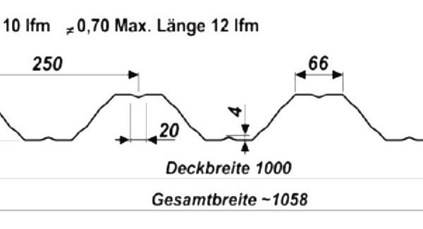 Trapezblech Wand 60-250 – T60P - Technische Zeichnung