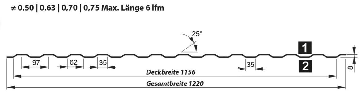 Trapezblech Wand 8-97 – T8 - Technische Zeichnung