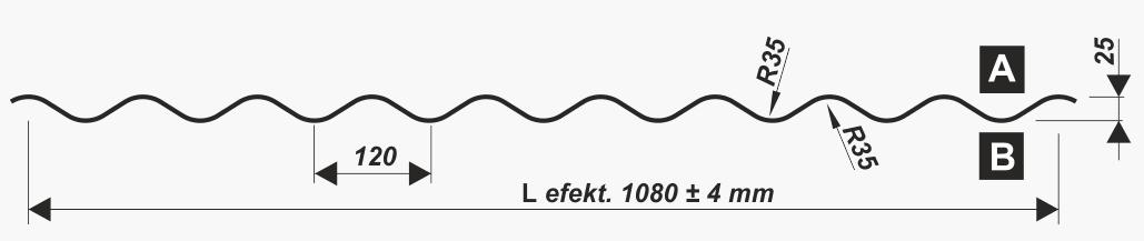 Wellblech 25-120 - PF25 - Technische Zeichnung