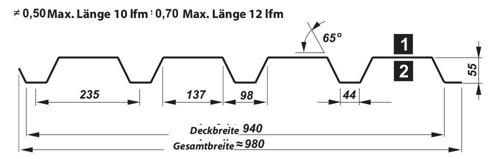 Trapezblech Wand 55-235 – T55P - Technische Zeichnung