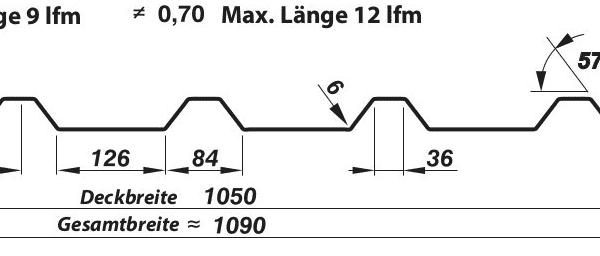 Trapezblech Dach 35 210 – T35e Technische Zeichnung