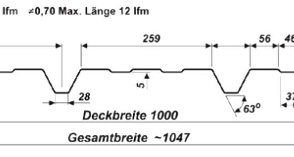 Trapezblech Wand 45 333 – T45 Technische Zeichnung