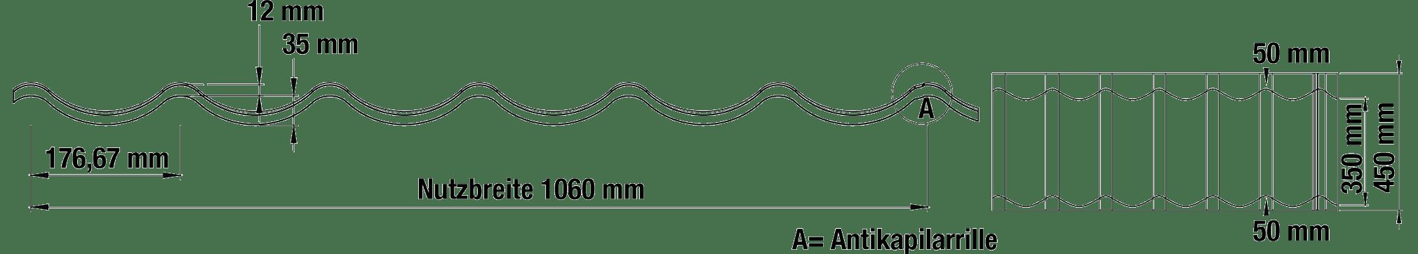 Dachpfannenprofil TYP 2 2/1060 Anthrazit-Tech Zeichnung (1)