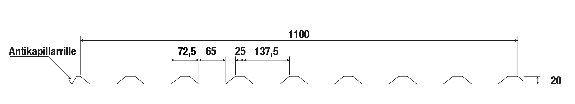 Trapezblech Stahl 20/138 – T20P Tech Zeichnung