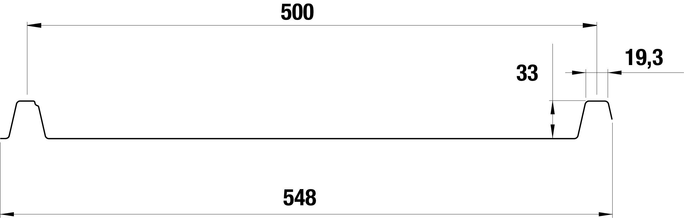 Trapezblech Stahl 33/500 – T33P - Tech Zeichnung