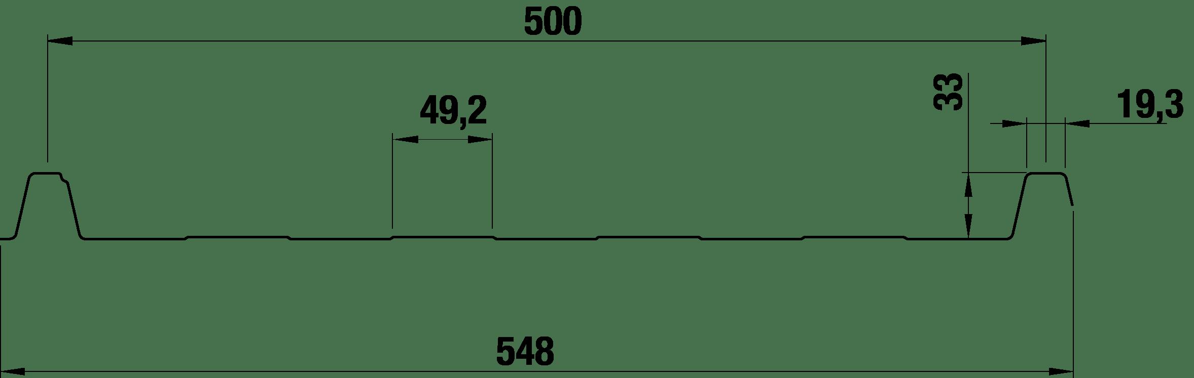 Trapezblech 33/500 – T33P Tech Zeichnung