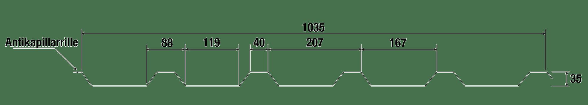 Trapezblech Stahl 35/207 – T35P Anthrazit Tech Zeichnung 1