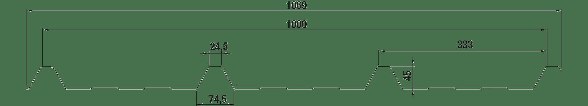 Trapezblech Dachblech 45/333 – W45 Tech Zeichnung